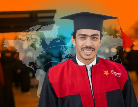 A young Syrian man graduates in Jordan.