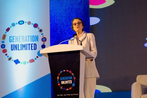 UNICEF Executive Director Henrietta Fore delivers a speech in Bangladesh.