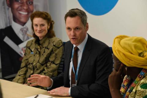 UNICEF Executive Director Henrietta Fore (left) and Benes lead a meeting of Generation Unlimited Champions