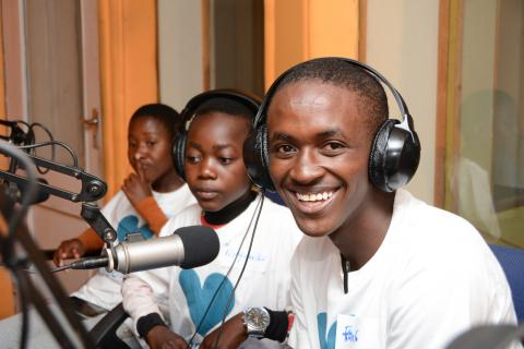 Frank Shaka(16), a form 2 student from Mangochi Secondary School participates in the Youth Out Loud and Capital FM Day of the African Child at Capital FM in Blantyre.