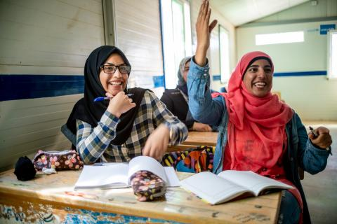 Bodoor, 17 years, in her UNICEF-supported school. She is in 12th grade in Azraq Refugee Camp and preparing for her final exams.