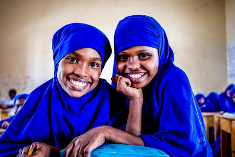 Halimo Abdirahman Ismail, 12 years old, and her friend attend class in Mogadishu, Somalia on 23 January 2021.