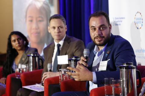 Saddam Sayyaleh, Founder, I Learn Jordan Initiative and Generation Unlimited Global Board member (right) — flanked by Javita Nauth, Global Youth Ambassador, Theirworld; and Robert Benes, Director, Generation Unlimited