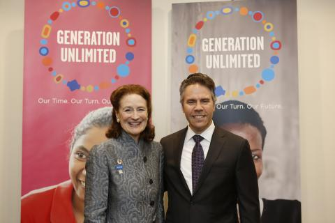 "UNICEF Executive Director Henrietta Fore, Co-Chair, Generation Unlimited (left), and Nick Tzitzon, Head of the SAP Foundation, meet before ""Reimagining Education: Preparing the Next Generation with Skills for the Future"""