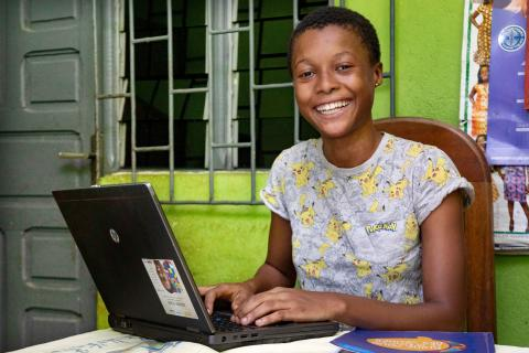 Tchétché Murielle Aholi, 16, follows the training given by Séphis on women's leadership, from her home in Yopougon, a suburban of Abidjan, a city in the south of Côte d'Ivoire.
