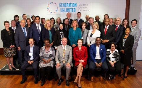 Members of the Generation Unlimited Board at the inaugural meeting in 2018.