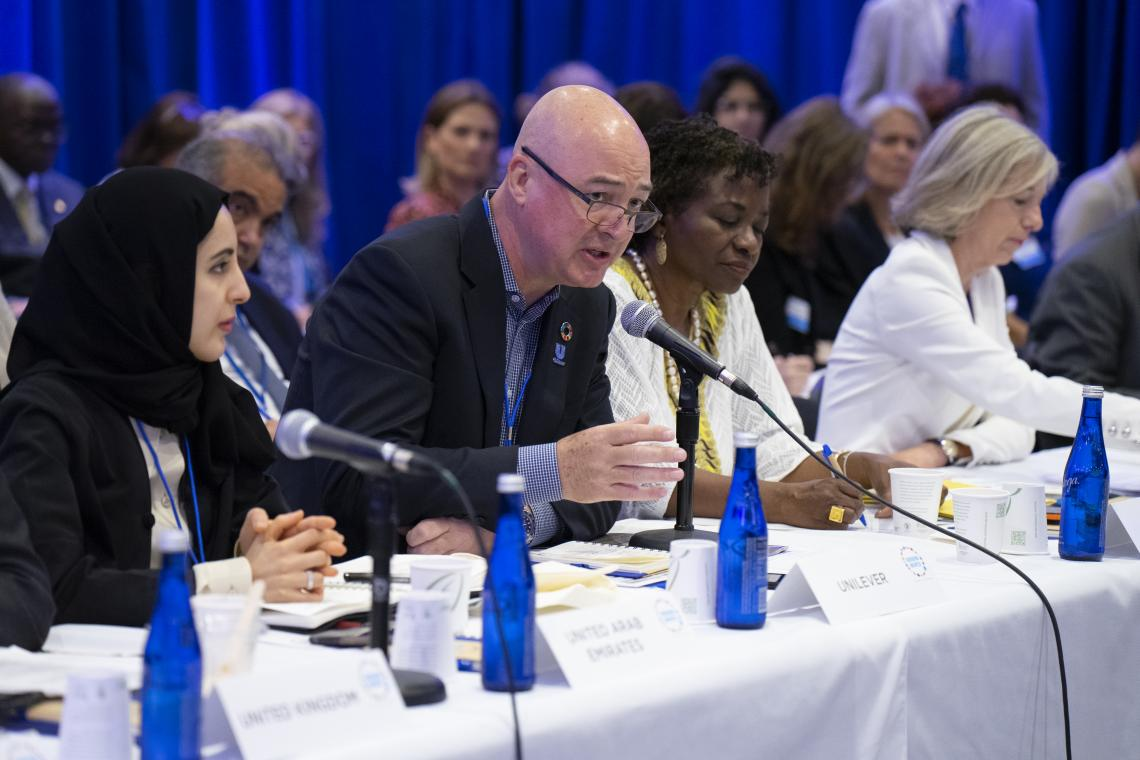 Unilever Chief Executive Officer Alan Jope speaks during the Third Global Board Meeting of Generation Unlimited on 23 September 2019 at UNICEF House in New York.