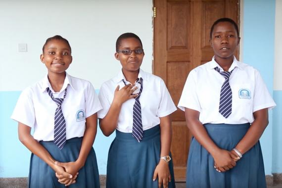 The three members of Our Dignity team present their idea to camera.